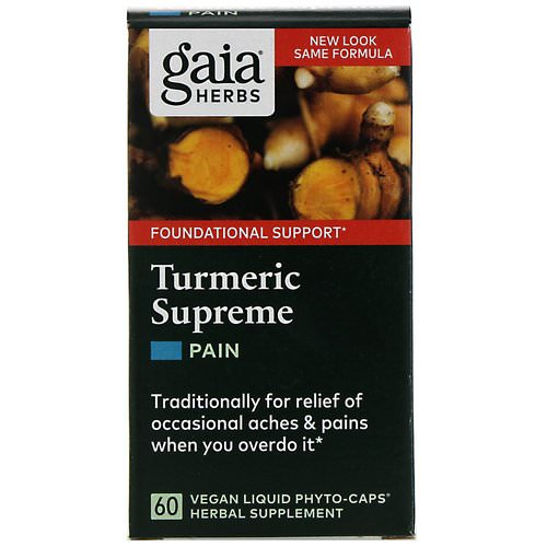 Gaia Herbs, Turmeric Supreme, Pain, 60 Vegan Liquid Phyto-Caps Review