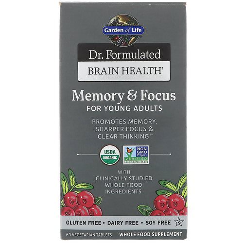 Garden of Life, Dr. Formulated Brain Health, Memory & Focus for Young Adults, 60 Vegetarian Tablets Review