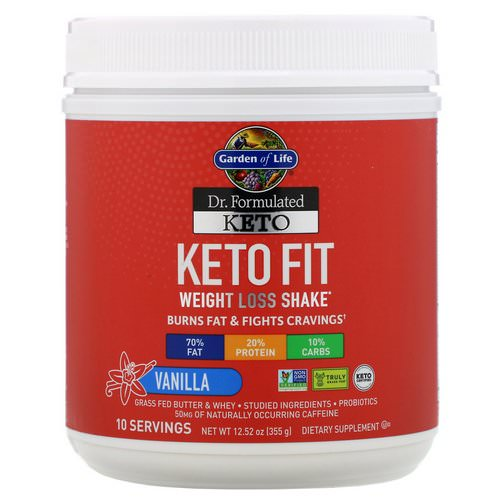 Garden of Life, Dr. Formulated Keto Fit Weight Loss Shake, Vanilla, 12.52 oz (355 g) Review