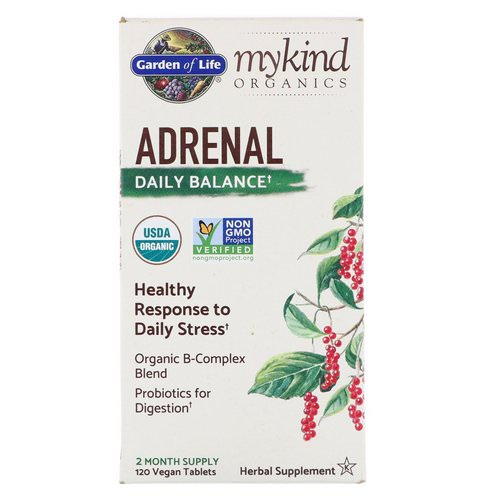 Garden of Life, MyKind Organics, Adrenal, Daily Balance, 120 Vegan Tablets Review