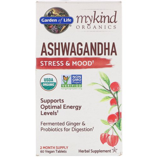 Garden of Life, MyKind Organics, Ashwagandha, Stress & Mood, 60 Vegan Tablets Review