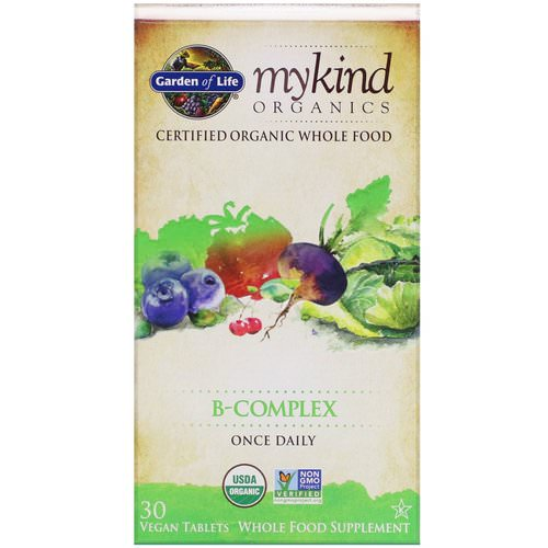 Garden of Life, MyKind Organics, B-Complex, 30 Vegan Tablets Review