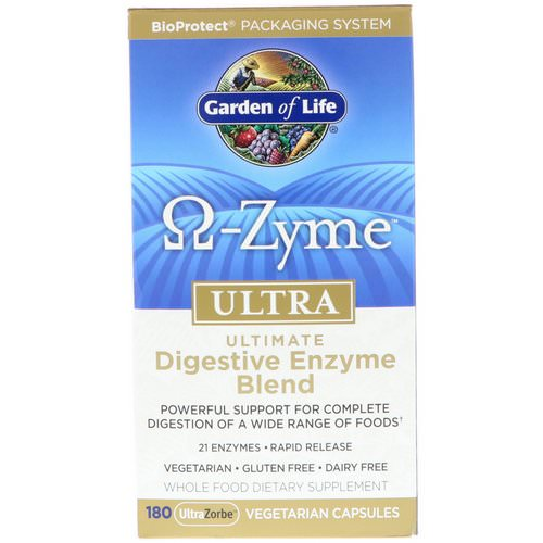 Garden of Life, O-Zyme, Ultra, Ultimate Digestive Enzyme Blend, 180 UltraZorbe Vegetarian Capsules Review