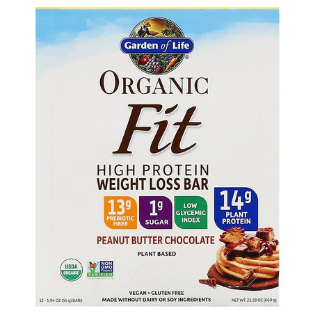 減肥棒, 飲食: Garden of Life, Organic Fit, High Protein Weight Loss Bar, Peanut Butter Chocolate, 12 Bars, 1.94 oz (55 g) Each