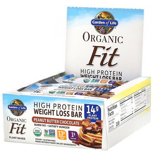 Garden of Life, Organic Fit, High Protein Weight Loss Bar, Peanut Butter Chocolate, 12 Bars, 1.94 oz (55 g) Each Review