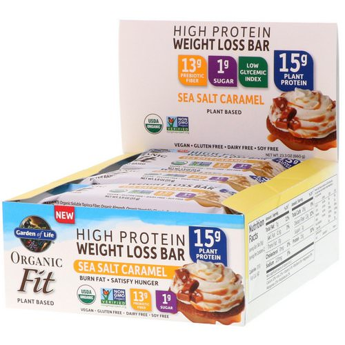 Garden of Life, Organic Fit High Protein Weight Loss Bar, Sea Salt Caramel, 12 Bars, 1.9 oz (55 g) Each Review