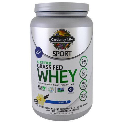 Garden of Life, Sport, Certified Grass Fed Whey Protein, Vanilla, 1.4 lbs (652 g) Review