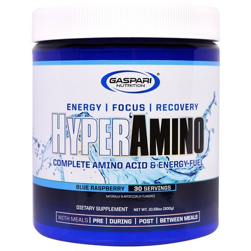 Gaspari Nutrition, HyperAmino, Blue Raspberry, 10.58 oz (300 g) Review