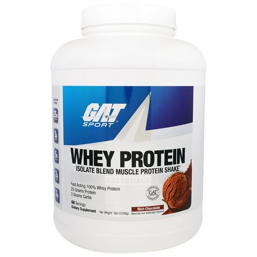 GAT, Whey Protein, Isolate Blend Muscle Protein Shake, Essentials, Rich Chocolate, 5 lbs (2268 g) Review