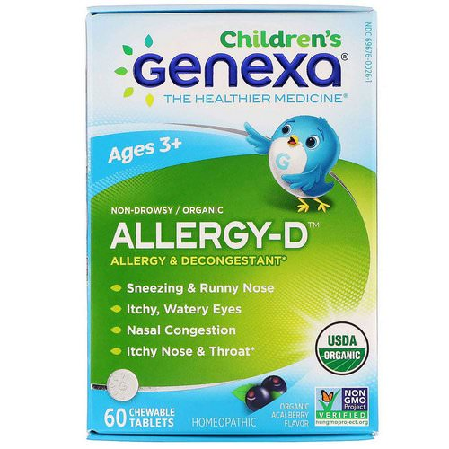 Genexa, Allergy-D, Allergy & Decongestant, Organic Acai Berry Flavor, 60 Chewable Tablets Review