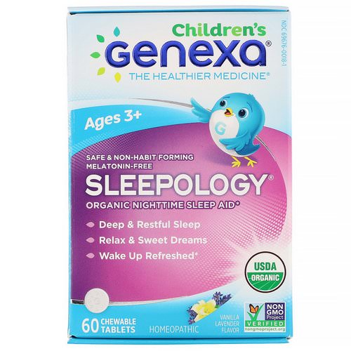 Genexa, Children's Sleepology, Organic Nighttime Sleep Aid, Ages 3+, Vanilla Lavender Flavor, 60 Chewable Tablets Review
