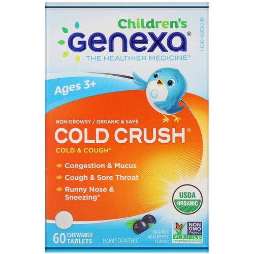 Genexa, Cold Crush for Children, Age 3+, Cold & Cough, Organic Acai Berry Flavor, 60 Chewable Tablets Review