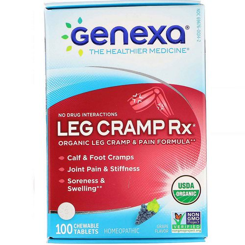 Genexa, Leg Cramp Rx, Organic Leg Cramp & Pain Formula, Grape Flavor, 100 Chewable Tablets Review