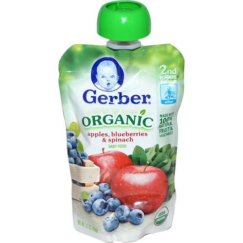 Gerber, 2nd Foods, Organic Baby Food, Apples, Blueberries & Spinach, 3.5 oz (99 g) Review