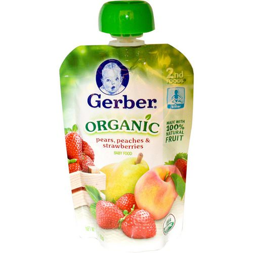 Gerber, 2nd Foods, Organic Baby Food, Pears, Peaches & Strawberries, 3.5 oz (99 g) Review