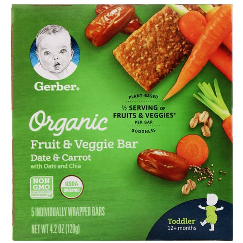 Gerber, Organic Fruit & Veggie Bar, 12+ months, Date & Carrot, 5 Individually Wrapped Bars, 4.2 oz (120 g) Review