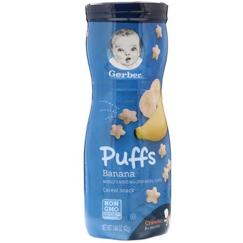 Gerber, Puffs Cereal Snack, Crawler, 8+ Months, Banana, 1.48 oz (42 g) Review