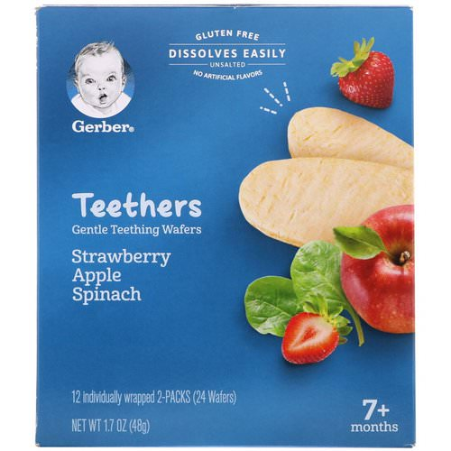 Gerber, Teethers, Gentle Teething Wafers, 7+ Months, Strawberry Apple Spinach, 24 Wafers, 1.7 oz (48 g) Review