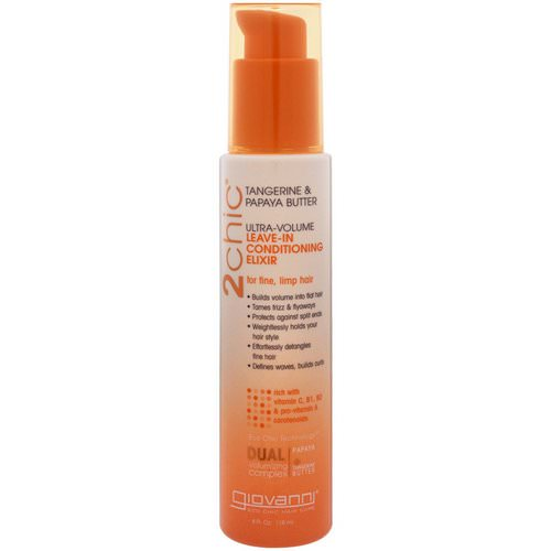 Giovanni, 2chic, Ultra-Volume Leave-In Conditioning Elixir, for Fine, Limp Hair, Tangerine & Papaya Butter, 4 fl oz (118 ml) Review