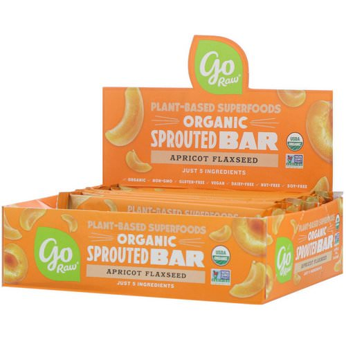 Go Raw, Organic Sprouted Bar, Apricot Flaxseed, 10 Bars, 0.4 oz (11 g) Each Review