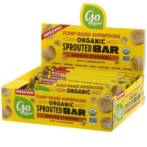 Go Raw, Organic Sprouted Bar, Banana Flaxseed, 10 Bars, 0.4 oz (11 g) Each Review