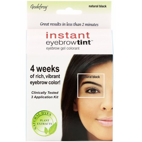 Godefroy, Instant Eyebrow Tint, Natural Black, 3 Application Kit Review