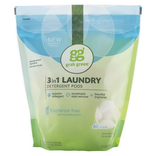 Grab Green, 3-in-1 Laundry Detergent Pods, Fragrance Free, 60 Loads, 2lbs, 6oz (1,080 g) Review