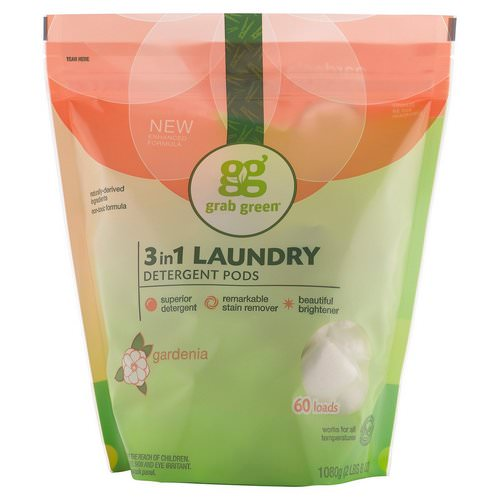 Grab Green, 3-in-1 Laundry Detergent Pods, Gardenia, 60 Loads,2lbs, 6oz (1,080 g) Review