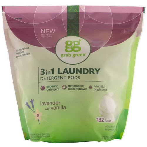 Grab Green, 3-in-1 Laundry Detergent Pods, Lavender,132 Loads, 5lbs, 4oz (2,376 g) Review