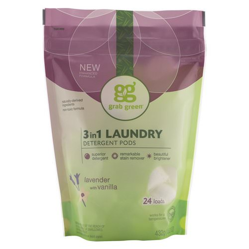 Grab Green, 3 in 1 Laundry Detergent Pods, Lavender, 24 Loads, 15.2 oz (432 g) Review