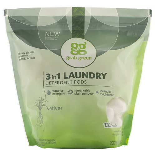 Grab Green, 3 in 1 Laundry Detergent Pods, Vetiver,132 Loads, 5lbs, 4oz (2,376 g) Review