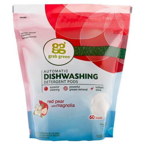Grab Green, Automatic Dishwashing Detergent Pods, Red Pear with Magnolia, 60 Loads, 2 lbs 4 oz (1,080 g) Review