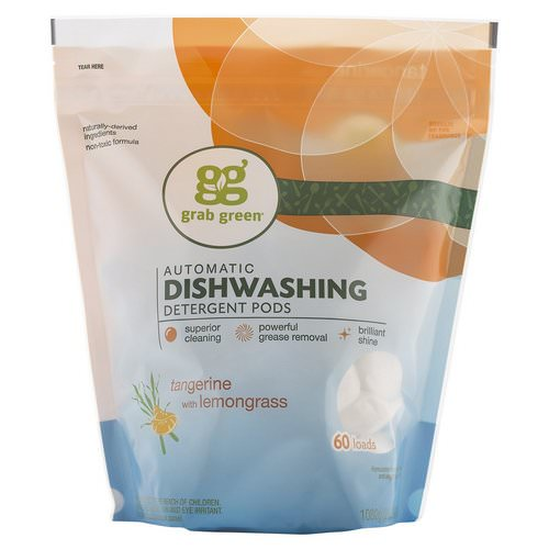 Grab Green, Automatic Dishwashing Detergent Pods, Tangerine with Lemongrass, 60 Loads, 2lbs, 6oz (1,080 g) Review