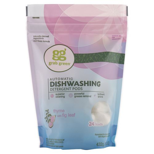 Grab Green, Automatic Dishwashing Detergent Pods, Thyme with Fig Leaf, 24 Loads, 15.2 oz (432 g) Review