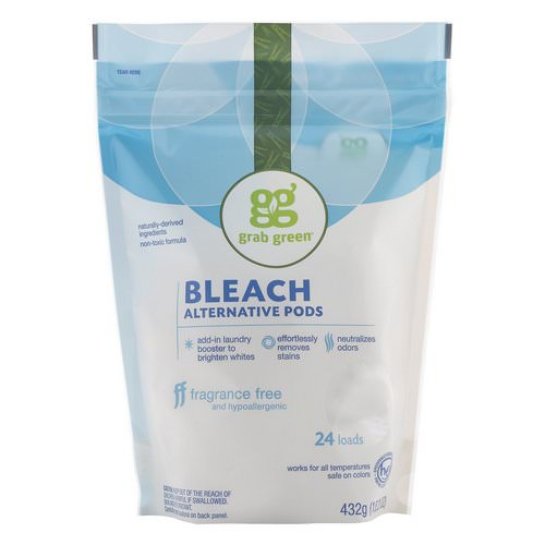 Grab Green, Bleach Alternative Pods, Fragrance Free, 24 Loads, 15.2 oz (432 g) Review