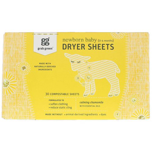 Grab Green, Dryer Sheets, Newborn Baby, Calming Chamomile with Essential Oils, 0-4 Months, 30 Compostable Sheets Review