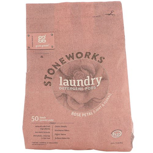 Grab Green, Stoneworks, Laundry Detergent Pods, Rose Petal, 50 Loads, 1.65 lbs (750 g) Review