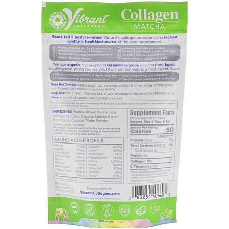 抹茶, 膠原蛋白補充劑: Green Foods, Vibrant Collagens, Energizing Collagen Matcha, Original, 9.88 oz (280 g)