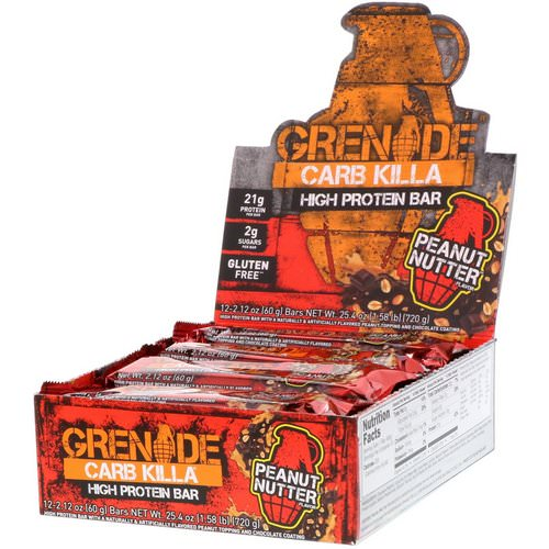 Grenade, Carb Killa Bars, Peanut Nutter, 12 Bars, 2.12 oz (60 g) Each Review