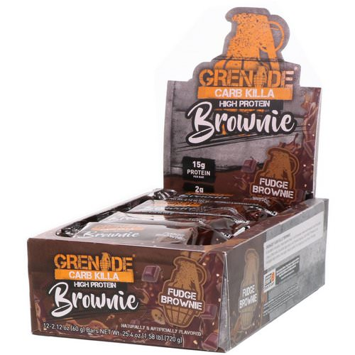 Grenade, Carb Killa Brownie, Fudge Brownie, 12 Bars, 2.12 oz (60 g) Each Review