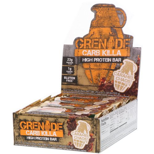 Grenade, Carb Killa High Protein Bar, Caramel Chaos, 12 Bars, 2.12 oz (60 g) Each Review