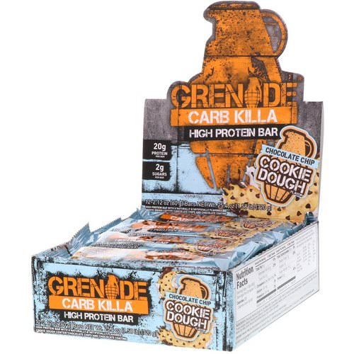 Grenade, Carb Killa, High Protein Bar, Chocolate Chip Cookie Dough, 12 Bars, 2.12 oz (60 g) Each Review