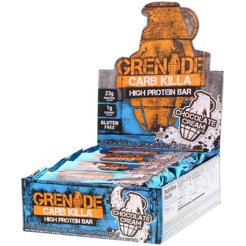 Grenade, Carb Killa, High Protein Bar, Chocolate Cream, 12 Bars, 2.12 oz (60 g) Each Review