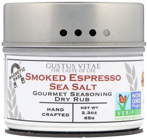 Gustus Vitae, Gourmet Seasoning Dry Rub, Smoked Espresso Sea Salt, 2.3 oz (65 g) Review