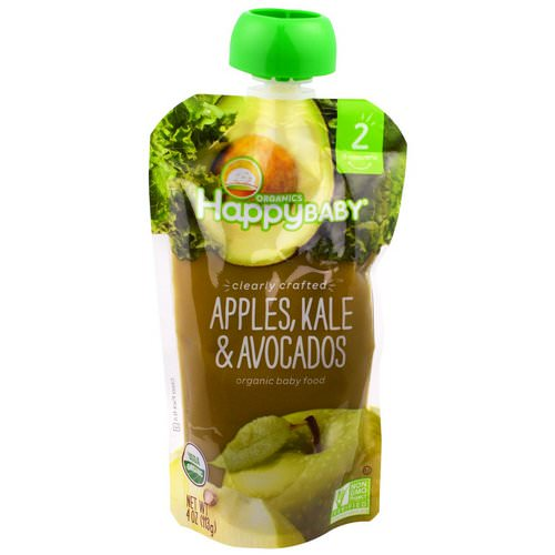 Happy Family Organics, Organic Baby Food, Stage 2, Clearly Crafted, 6+ Months, Apples, Kale & Avocados, 4 oz (113 g) Review