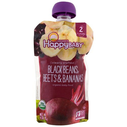 Happy Family Organics, Organic Baby Food, Stage 2, Clearly Crafted 6+ Months, Black Beans, Beets & Bananas, 4 oz (113 g) Review