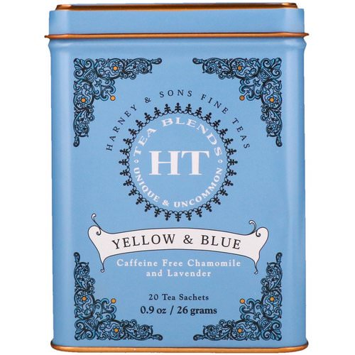 Harney & Sons, HT Tea Blend, Yellow & Blue, Caffeine Free Chamomile and Lavender, 20 Tea Sachets, 0.9 oz (26 g) Review