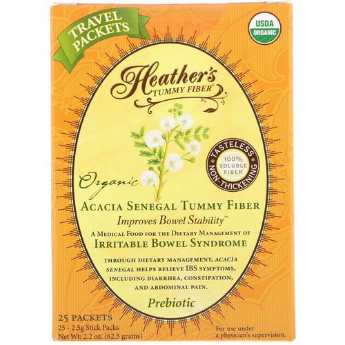 Heather's Tummy Care, Organic Acacia Senegal Tummy Fiber, 25 Stick Packs, 2.5 g Each Review