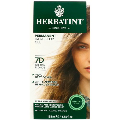Herbatint, Permanent Haircolor Gel, 7D, Golden Blonde, 4.56 fl oz (135 ml) Review