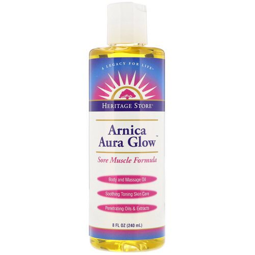 Heritage Store, Arnica Aura Glow, Body and Massage Oil, Sore Muscle Formula, 8 fl oz (240 ml) Review